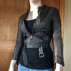 Brown Faux Leather crop jacket